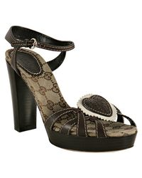 Gucci | Brown Leather Tribeca Platform Sandals | Lyst