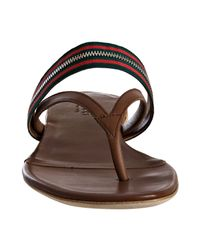 Gucci | Brown Leather Zip Web Thong Sandals | Lyst