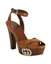 Gucci | Brown Cognac Suede Grease Platform Sandals | Lyst