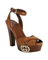 Gucci | Brown Cognac Suede Grease Platform Sandals | Lyst