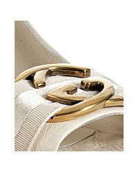 Gucci - White Cream Leather Interlocking Peep Toe Pumps - Lyst