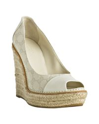 Gucci | White Gg Canvas Kerr Platform Wedges | Lyst