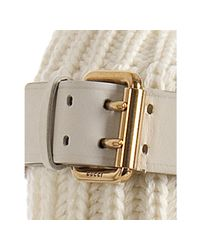 Gucci | White Wool Knit and Leather Lockhart Wedge Boots | Lyst