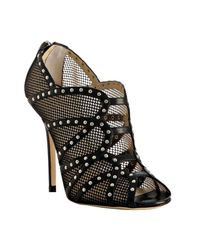 Jimmy Choo | Black Studded Fishnet Karina Booties | Lyst