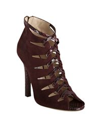 Jimmy Choo | Purple Bordeaux Suede and Snakeskin Kassidy Peep Toe Booties | Lyst
