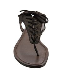 Joie | Black Gunmetal Leather Just A Little Bit Sandals | Lyst