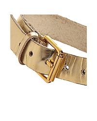 Kors by Michael Kors - Metallic Gold Leather Dareh Studded T-strap Sandals - Lyst