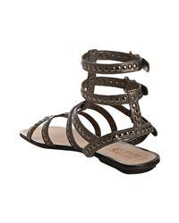 Kors by Michael Kors - Metallic Gunmetal Studded Leather Yes Gladiator Sandals - Lyst