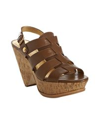 Kors by Michael Kors - Brown Luggage Leather Boom Cork Platform Sandals - Lyst