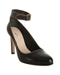 Miu Miu | Black Leather Ankle Strap Pumps | Lyst