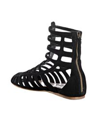 Miu Miu | Black Suede Gladiator Sandals | Lyst