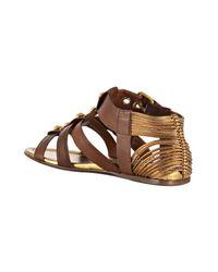 Miu Miu - Brown Leather Studded Gladiator Sandals - Lyst
