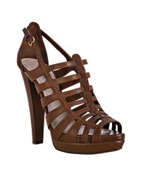 Miu Miu | Brown Coconut Leather Cage Platform Sandals | Lyst
