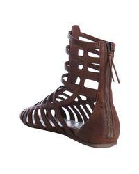 Miu Miu - Brown Coconut Leather Gladiator Sandals - Lyst