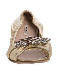 Miu Miu - Metallic Gold Leather Jeweled Peep Toe Flats - Lyst