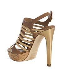 Miu Miu | Metallic Gold Strappy Leather Platform Sandals | Lyst