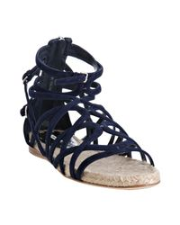 Miu Miu | Blue Navy Strappy Suede Flat Sandals | Lyst