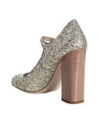 Miu Miu - Metallic Camel Patent Glitter Mary-jane Pumps - Lyst