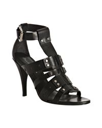 Pour La Victoire | Black Leather Claire Studded T-strap Sandals | Lyst