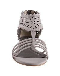 Pour La Victoire - Gray Light Grey Cutout Suede Farrah Flat Sandals - Lyst