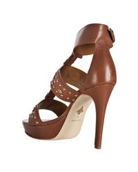 Pour La Victoire - Brown Whiskey Studded Leather Kira Platform Sandals - Lyst