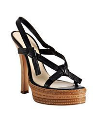 Prada | Black Leather Tie Detail Platform Sandals | Lyst