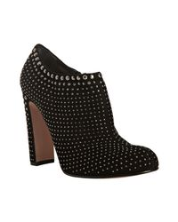 Prada | Black Rhinestone Studded Suede Ankle Boots | Lyst