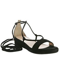 Prada | Black Suede Ankle Wrap Sandals | Lyst