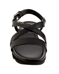 Prada - Sport Black Leather Wedge Lug Sandals - Lyst