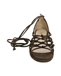 Prada - Brown Knotted Suede Lace Up Sandals - Lyst