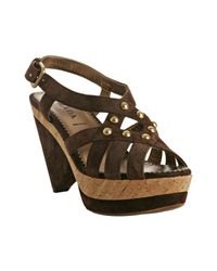 Prada | Brown Studded Suede Cork Platform Sandals | Lyst