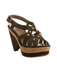 Prada   Brown Studded Suede Cork Platform Sandals   Lyst