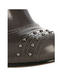 Prada - Gray Graphite Studded Leather Ankle Boots - Lyst