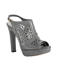 Prada | Gray Grey Cut-out Calfskin Peep Toe Slingbacks | Lyst