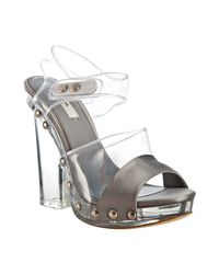Prada | Gray Grey Satin and Pvc Platform Lucite Sandals | Lyst
