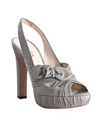 Prada | Gray Light Grey Pleated Leather Platform Slingbacks | Lyst