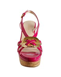 Prada - Pink Hibiscus Patent Leather Platform Sandals - Lyst