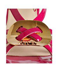 Prada - Pink Hibiscus Patent Leather Platform Sandals - Lyst