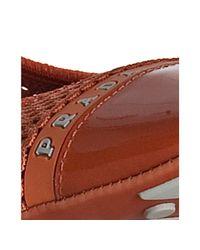 Prada - Sport Orange Mesh Patent Cap Toe Flats - Lyst