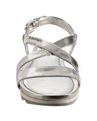 Prada - Metallic Sport Silver Leather Wedge Lug Sandals - Lyst