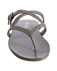 Prada - Gray Taupe Leather Thong Flat Sandals - Lyst
