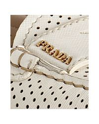 Prada - White Perforated Leather Loafers - Lyst
