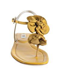 Prada - Metallic Golden Yellow Silk Flower Thong Sandals - Lyst