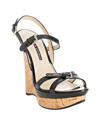 Rock & Republic | Black Patent Marlow Wedge Sandals | Lyst