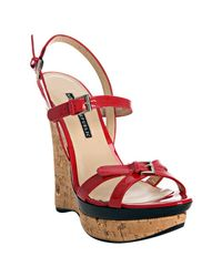 Rock & Republic - Red Patent Marlow Wedge Sandals - Lyst