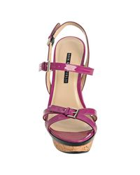 Rock & Republic - Purple Violet Patent Marlow Wedge Sandals - Lyst