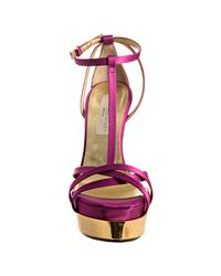 Stella McCartney | Purple Magenta Satin T-strap Platform Sandals | Lyst