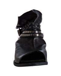 Strategia - Black Leather Peep Toe Stud Ankle Strap Boots - Lyst
