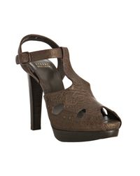 Stuart Weitzman | Brown Leather Teasdale T-strap Platform Sandals | Lyst