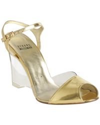 Stuart Weitzman - Metallic Gold Leather See All Lucite Wedges - Lyst